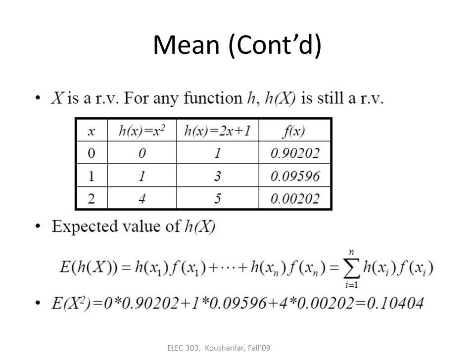 ELEC 303, Koushanfar, Fall'09 Geometric random variable