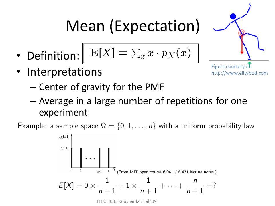 ELEC 303, Koushanfar, Fall'09 Review: discrete random variable PMF, expectation, variance Probability mass function (PMF) P X (x) = P (X=x)  x P X (x)=1
