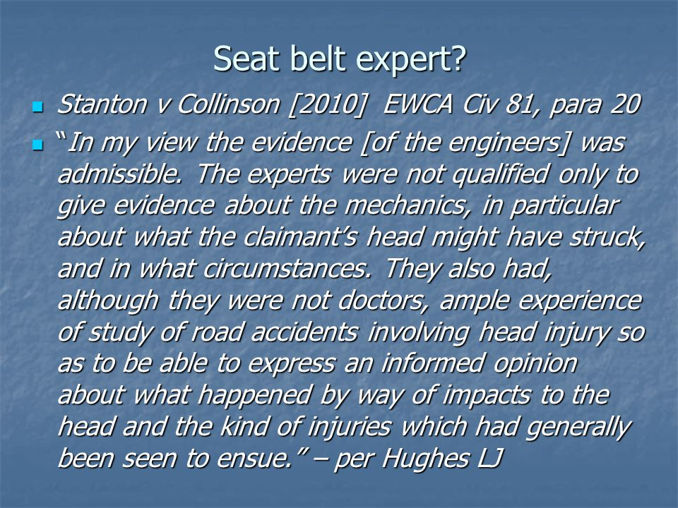 Assessment of Risk and Tactics Part 36 Liability Offers Part 36 Liability Offers Always, if acting for D Always, if acting for D Care required, if acting for C Care required, if acting for C Costs/benefit analysis Costs/benefit analysis What is the seat belt/helmet issue worth.