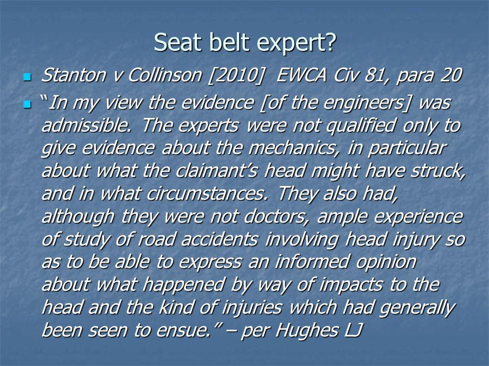 Seat belt expert.