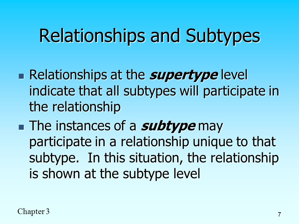 Chapter 3 8 Figure 3-3 Supertype/subtype relationships in a hospital Both outpatients and resident patients are cared for by a responsible physician Only resident patients are assigned to a bed
