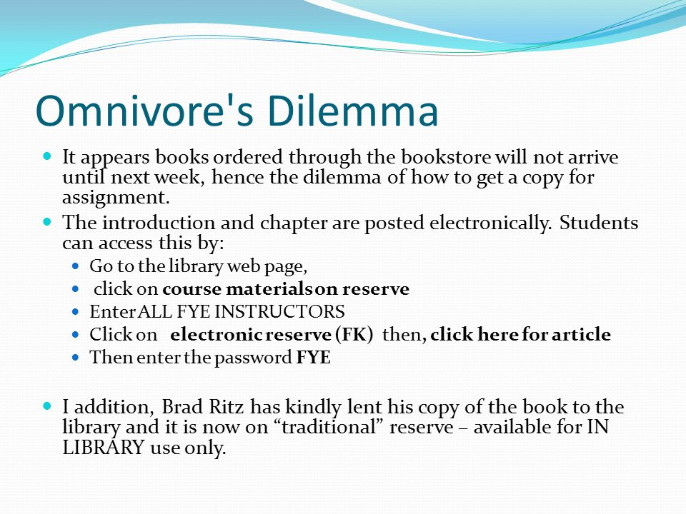 Omnivore s Dilemma What happened in the fall of 2002 that changed American's Diets.