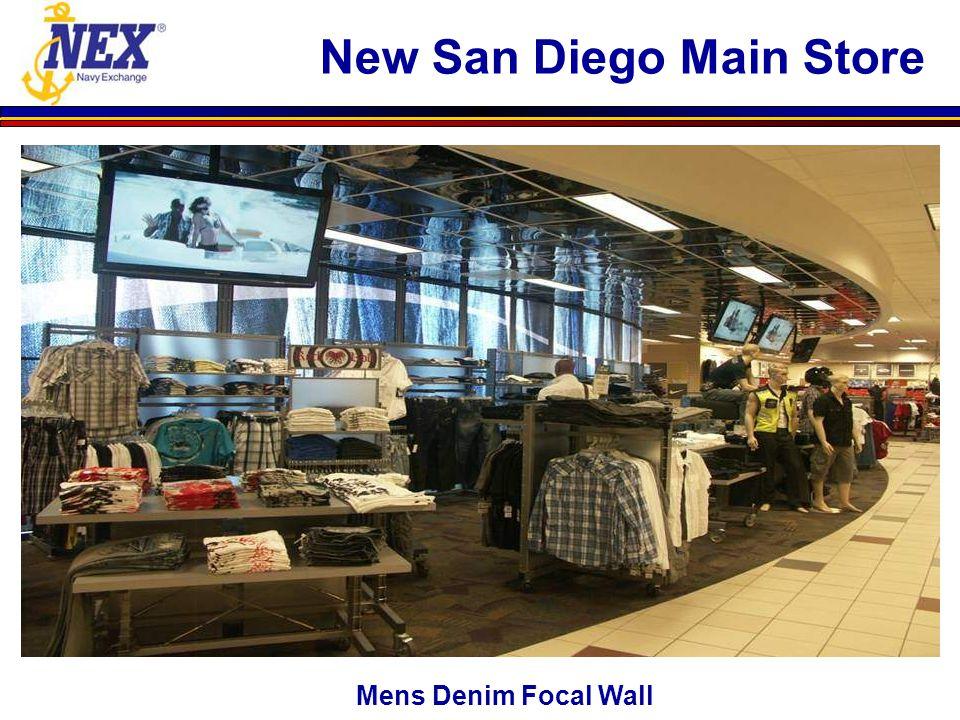 Mens Denim Focal Wall New San Diego Main Store