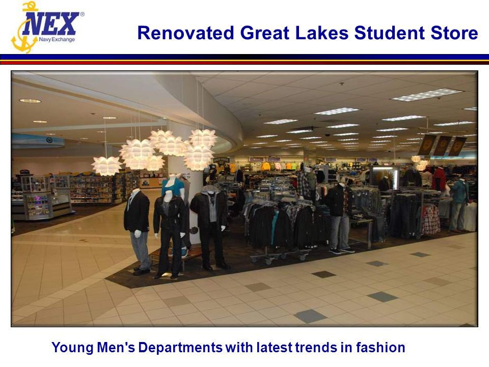Young Men's Departments with latest trends in fashion Renovated Great Lakes Student Store