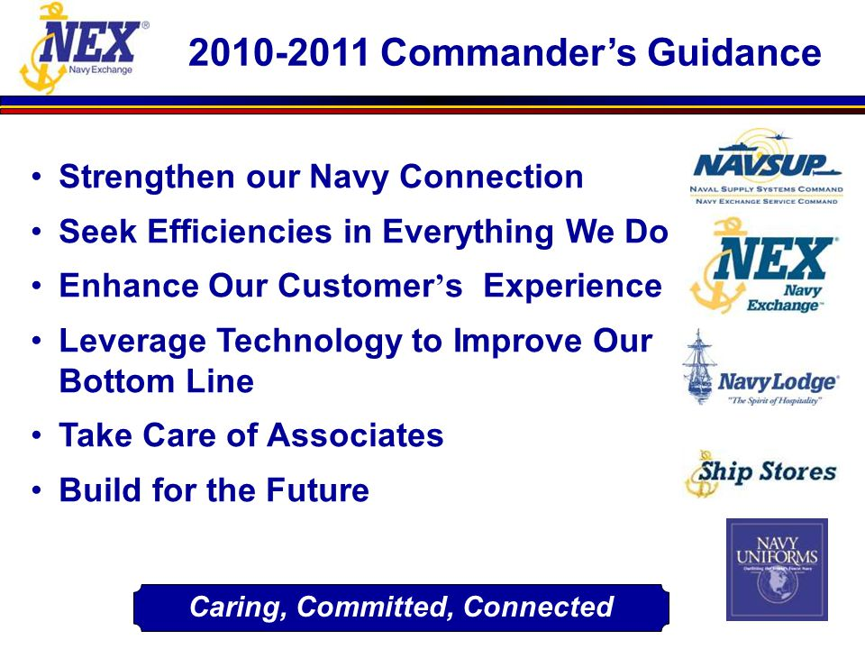 2010-2011 Commander's Guidance Strengthen our Navy Connection Seek Efficiencies in Everything We Do Enhance Our Customer ' s Experience Leverage Techn