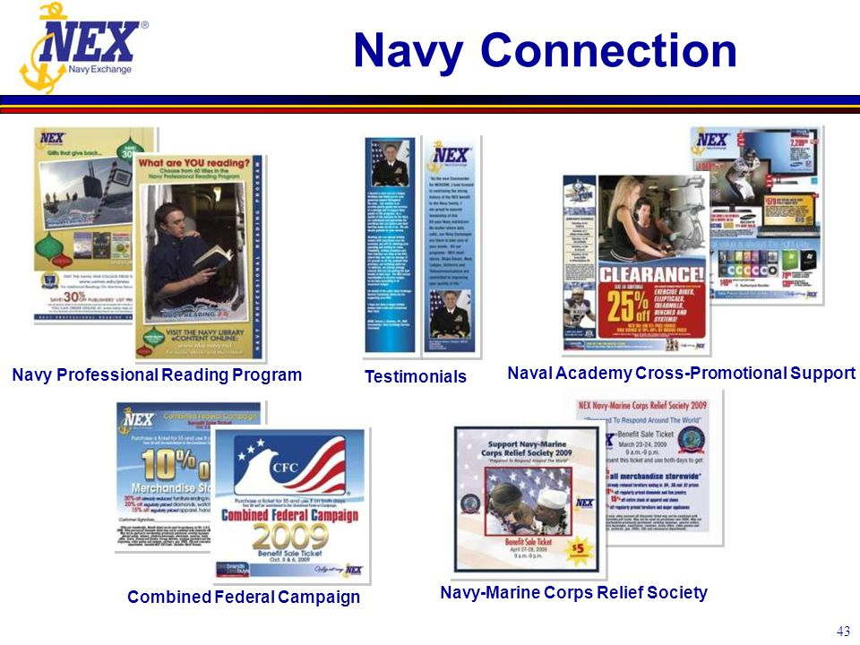 43 Navy Connection Navy Professional Reading Program Naval Academy Cross-Promotional Support Testimonials Combined Federal Campaign Navy-Marine Corps Relief Society