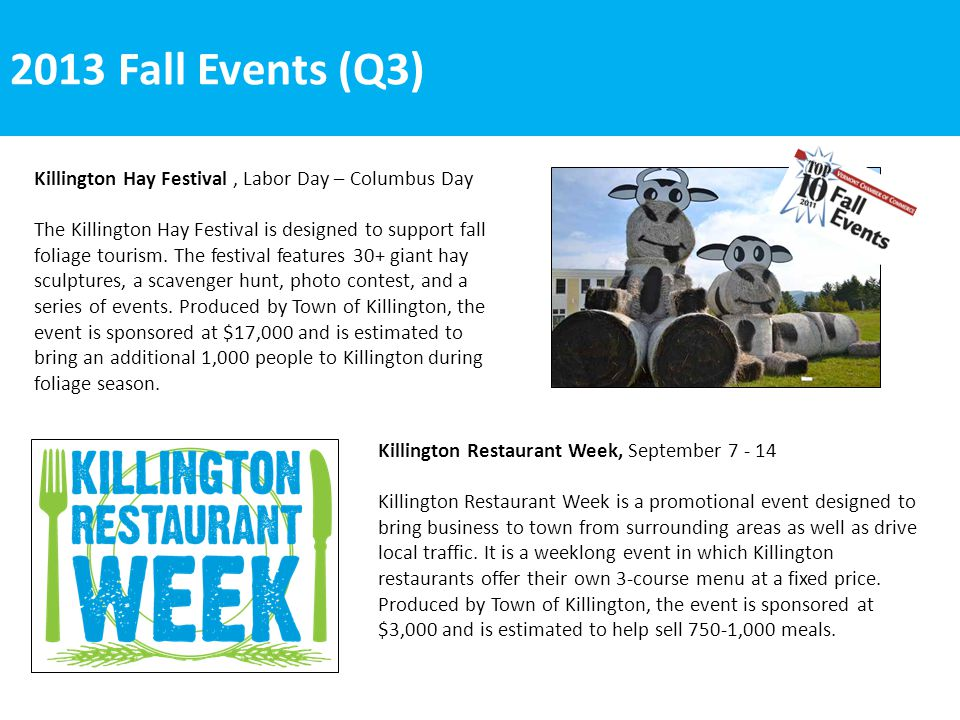 2013 Fall Events (Q3) Killington Restaurant Week, September 7 - 14 Killington Restaurant Week is a promotional event designed to bring business to town from surrounding areas as well as drive local traffic.