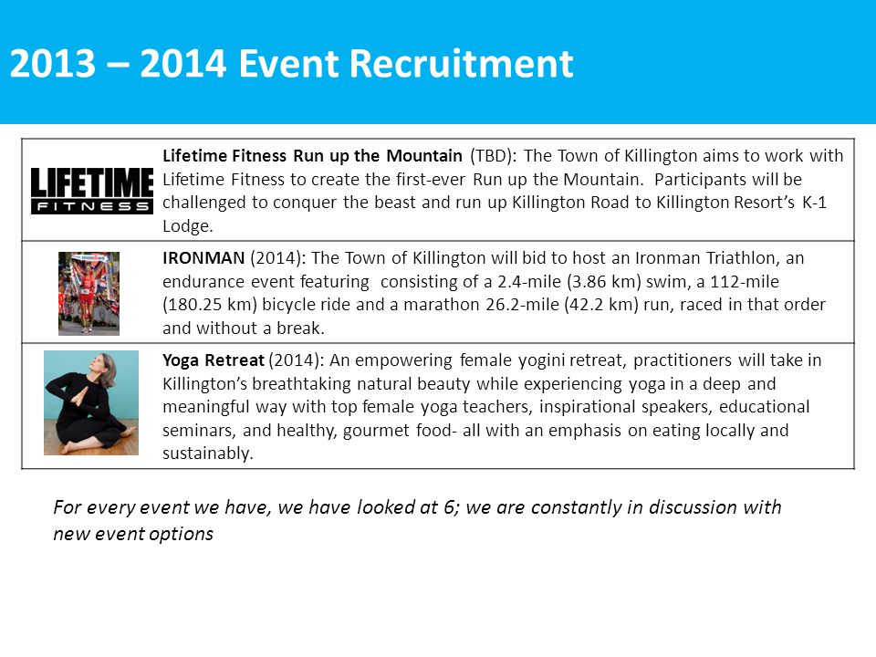 2013 – 2014 Event Recruitment Lifetime Fitness Run up the Mountain (TBD): The Town of Killington aims to work with Lifetime Fitness to create the first-ever Run up the Mountain.