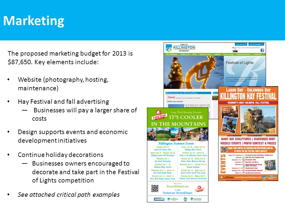 Marketing Website (photography, hosting, maintenance) Hay Festival and fall advertising ― Businesses will pay a larger share of costs Design supports events and economic development initiatives Continue holiday decorations ―Businesses owners encouraged to decorate and take part in the Festival of Lights competition See attached critical path examples The proposed marketing budget for 2013 is $87,650.