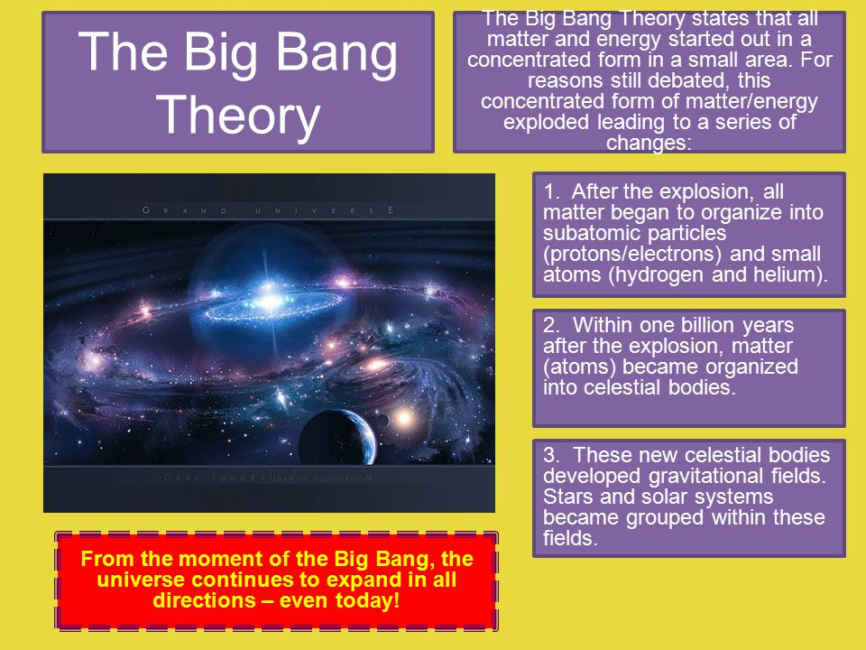 The Big Bang Theory The Big Bang Theory states that all matter and energy started out in a concentrated form in a small area.