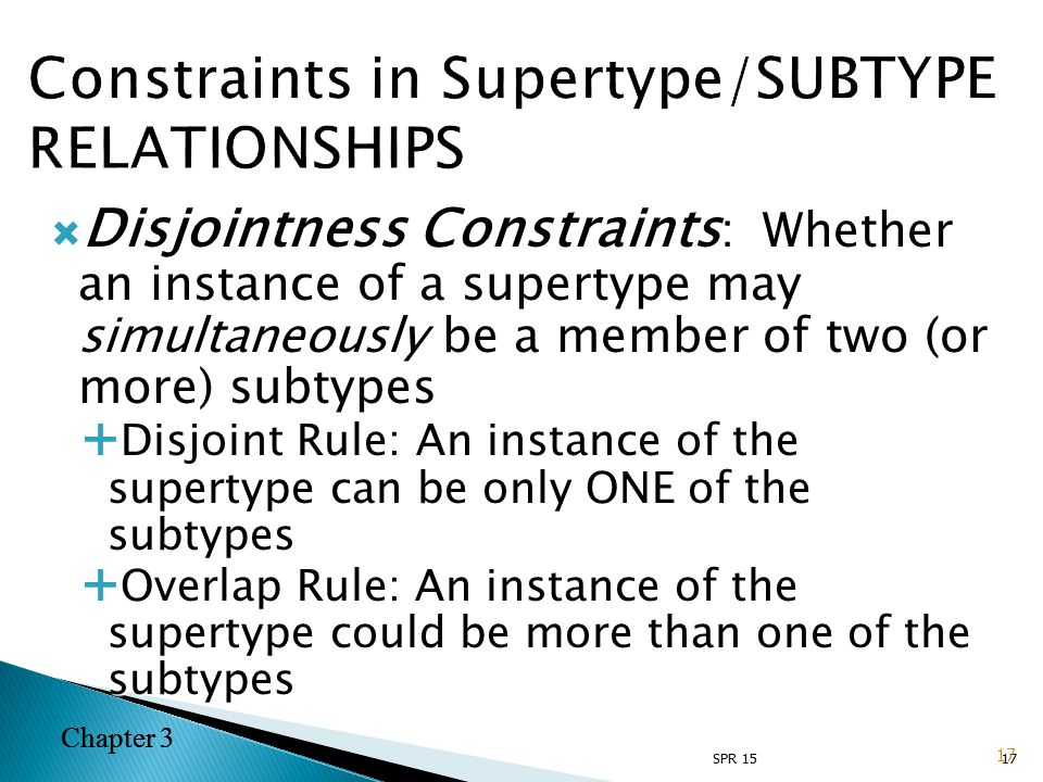 Chapter 3  Disjointness Constraints : Whether an instance of a supertype may simultaneously be a member of two (or more) subtypes  Disjoint Rule: An instance of the supertype can be only ONE of the subtypes  Overlap Rule: An instance of the supertype could be more than one of the subtypes 17 Chapter 3 SPR 15