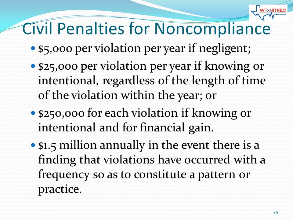 Civil Penalties for Noncompliance $5,000 per violation per year if negligent; $25,000 per violation per year if knowing or intentional, regardless of the length of time of the violation within the year; or $250,000 for each violation if knowing or intentional and for financial gain.