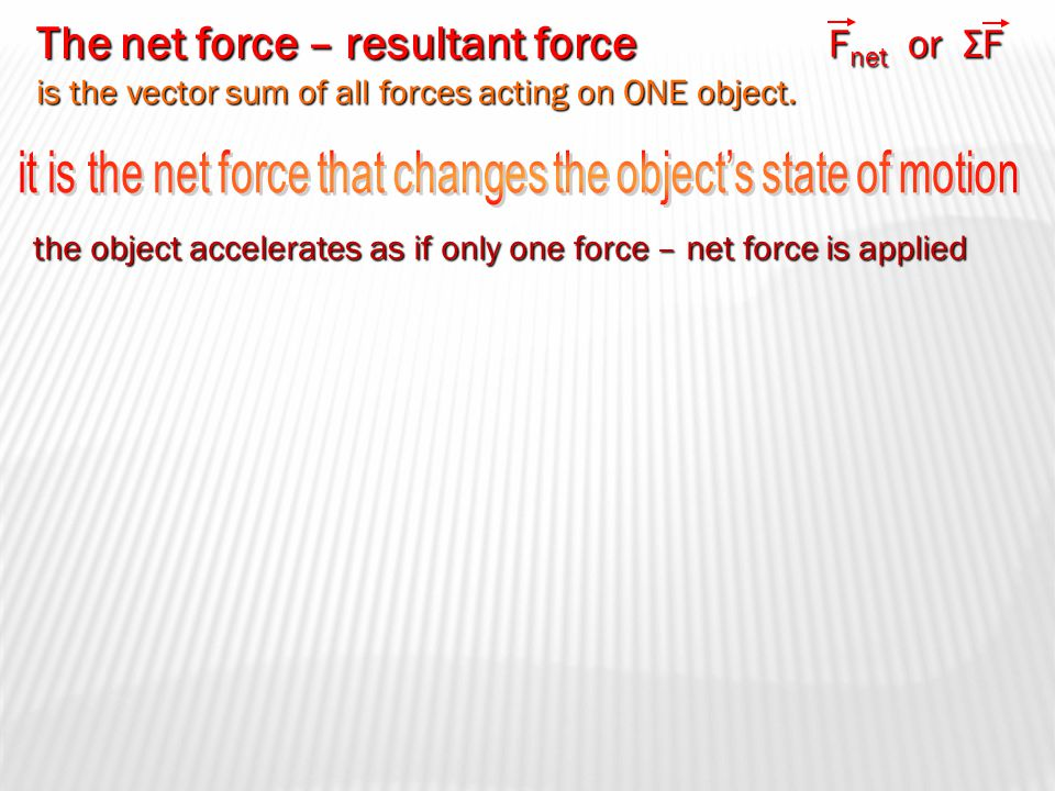 An interaction between two objects involving a push or a pull Causes objects to accelerate NOTE: ALL forces are INTERACTIONS between 2 objects Forces
