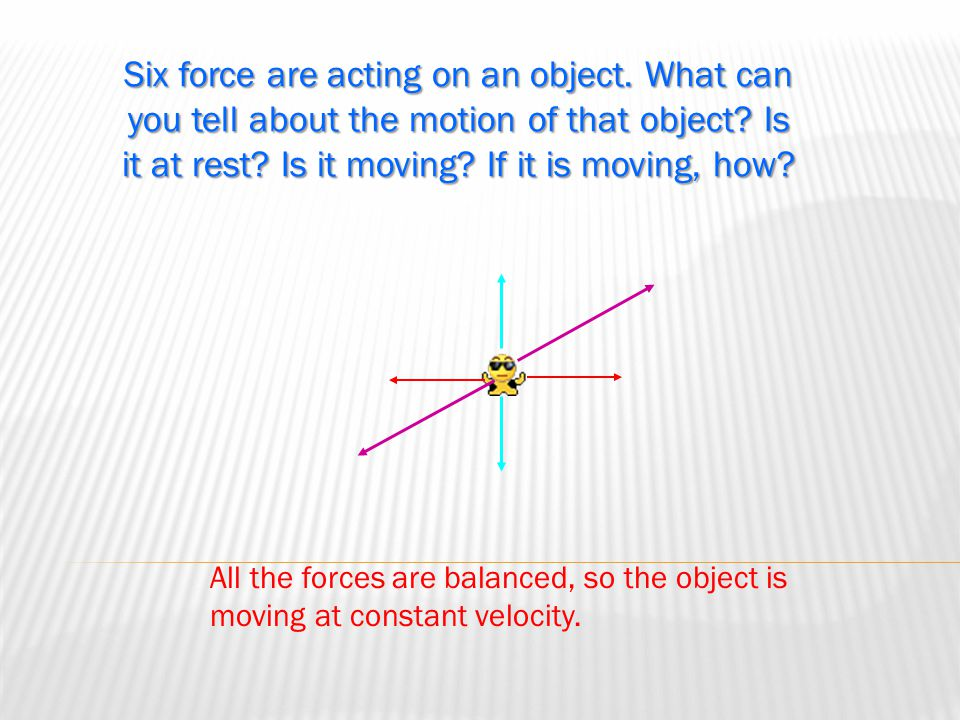  An object at rest has two forces acting on it. One force is 8N to the left. What is the other force?  An object that experiences two forces moves t