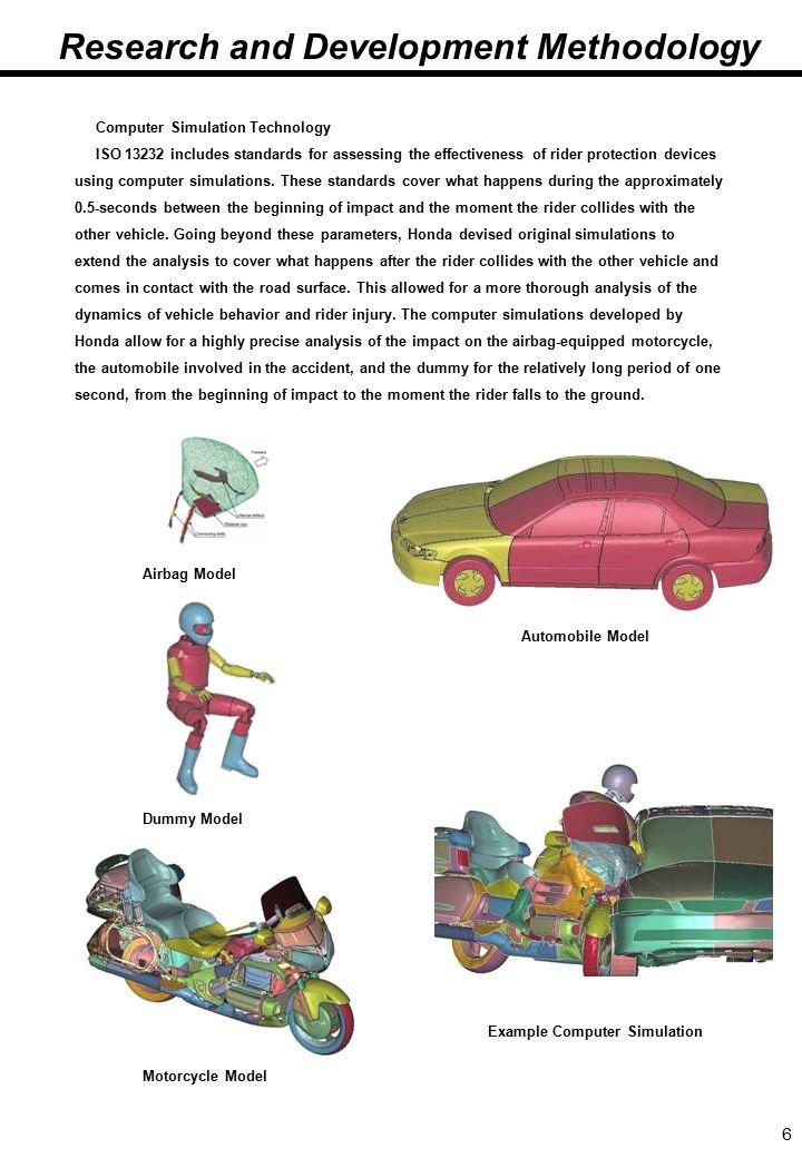 6 4.(続き2)研究開発にあたって Computer Simulation Technology ISO 13232 includes standards for assessing the effectiveness of rider protection devices using computer simulations.