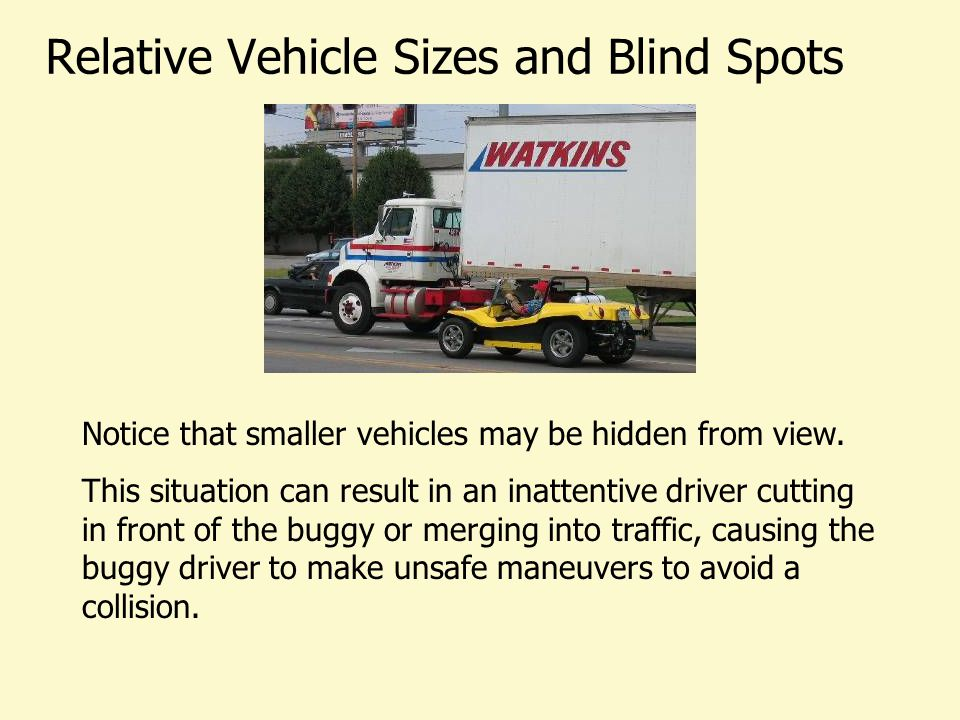 Relative Vehicle Sizes and Blind Spots Notice that smaller vehicles may be hidden from view. This situation can result in an inattentive driver cuttin