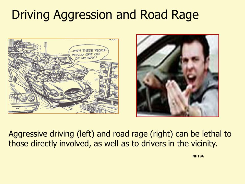 Driving Aggression and Road Rage Aggressive driving (left) and road rage (right) can be lethal to those directly involved, as well as to drivers in the vicinity.