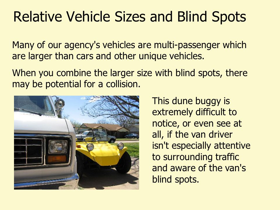 Relative Vehicle Sizes and Blind Spots Notice that smaller vehicles may be hidden from view.