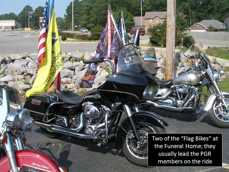 "Two of the ""Flag Bikes"" at the Funeral Home; they usually lead the PGR members on the ride"