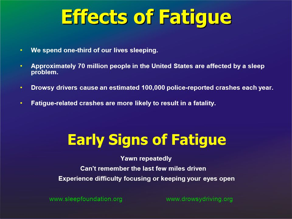 Effects of Fatigue We spend one-third of our lives sleeping. Approximately 70 million people in the United States are affected by a sleep problem. Dro