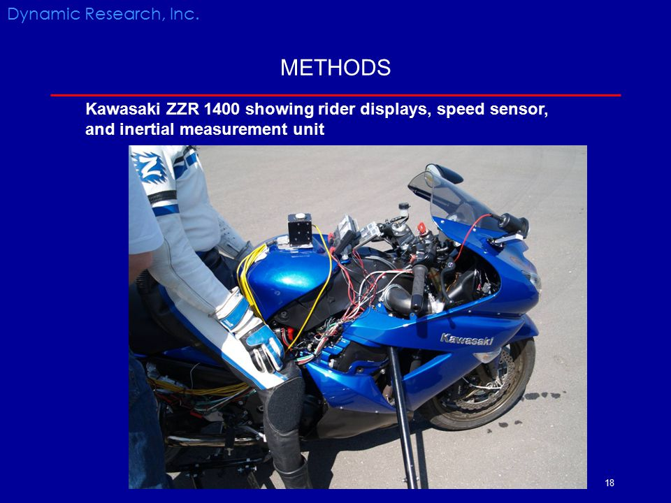 18 METHODS Dynamic Research, Inc. Kawasaki ZZR 1400 showing rider displays, speed sensor, and inertial measurement unit