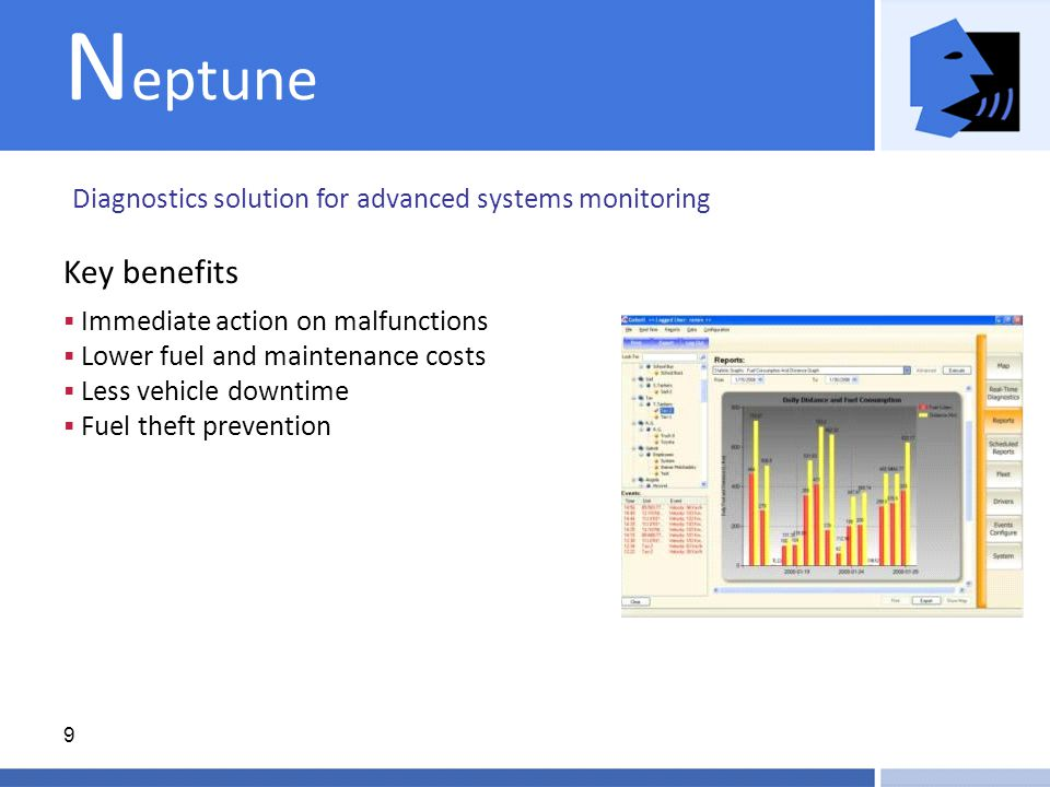 9 N eptune Diagnostics solution for advanced systems monitoring  Immediate action on malfunctions  Lower fuel and maintenance costs  Less vehicle downtime  Fuel theft prevention Key benefits