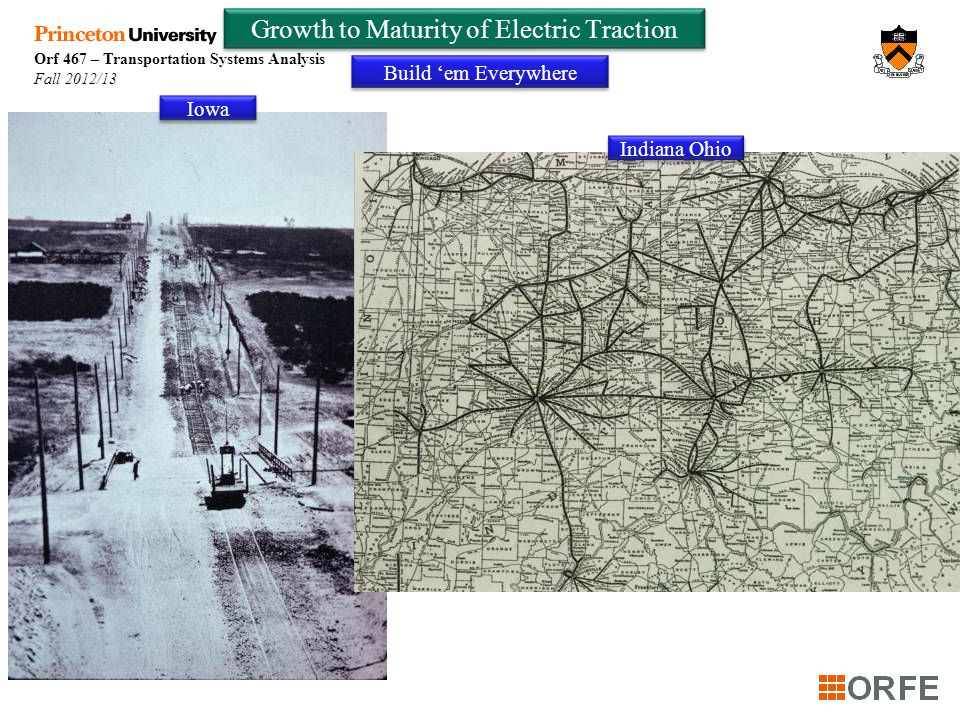 Orf 467 – Transportation Systems Analysis Fall 2012/13 Growth to Maturity of Electric Traction Build 'em Everywhere Iowa Indiana Ohio