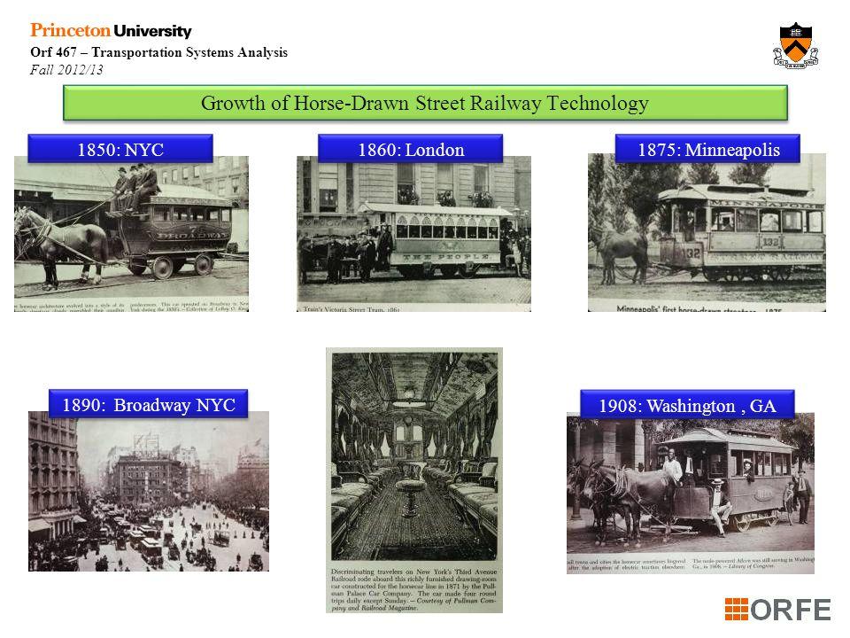 Orf 467 – Transportation Systems Analysis Fall 2012/13 Week 89 Evolution of Horse-Drawn Street Railway Technology Today: DisneyWorld