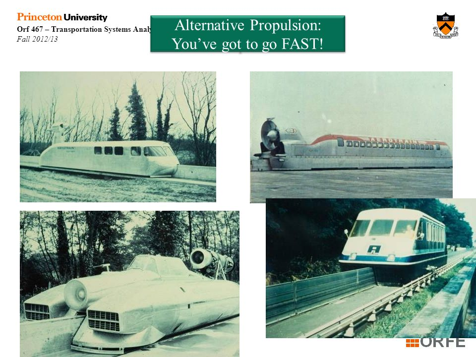 Orf 467 – Transportation Systems Analysis Fall 2012/13 Week 9 Alternative Propulsion: You've got to go FAST!