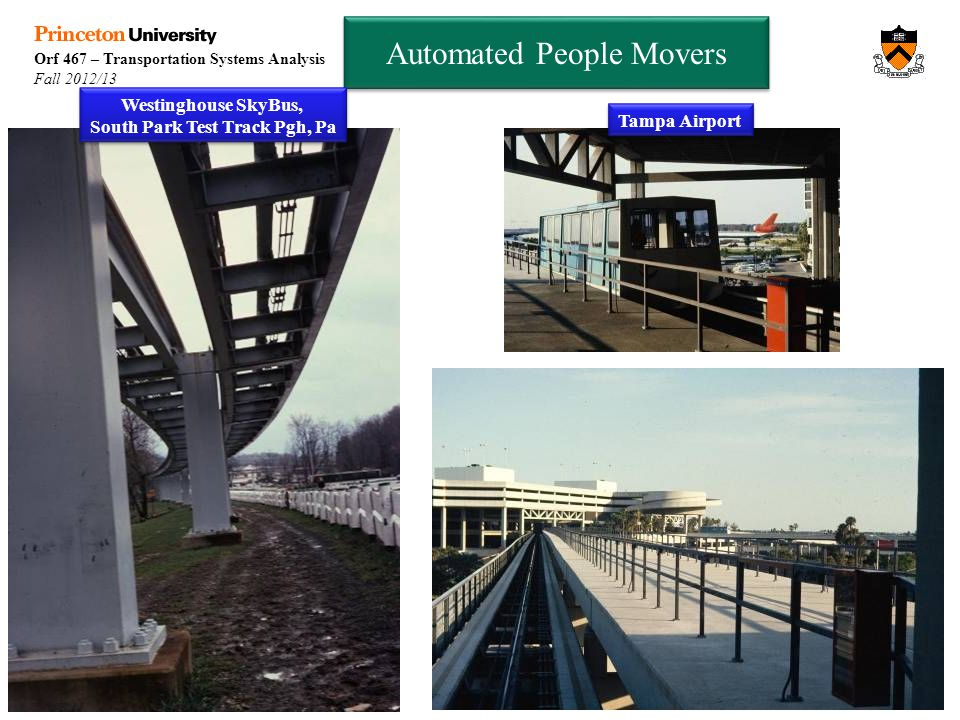 Orf 467 – Transportation Systems Analysis Fall 2012/13 Automated People Movers Westinghouse SkyBus, South Park Test Track Pgh, Pa Tampa Airport