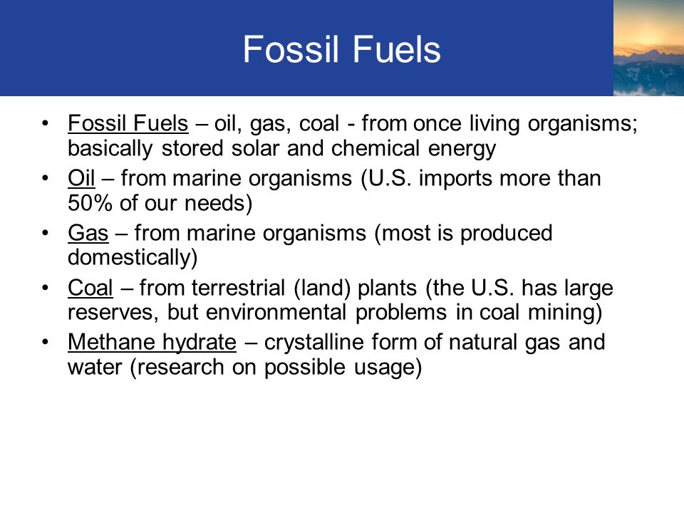 Fossil Fuels Fossil Fuels – oil, gas, coal - from once living organisms; basically stored solar and chemical energy Oil – from marine organisms (U.S.