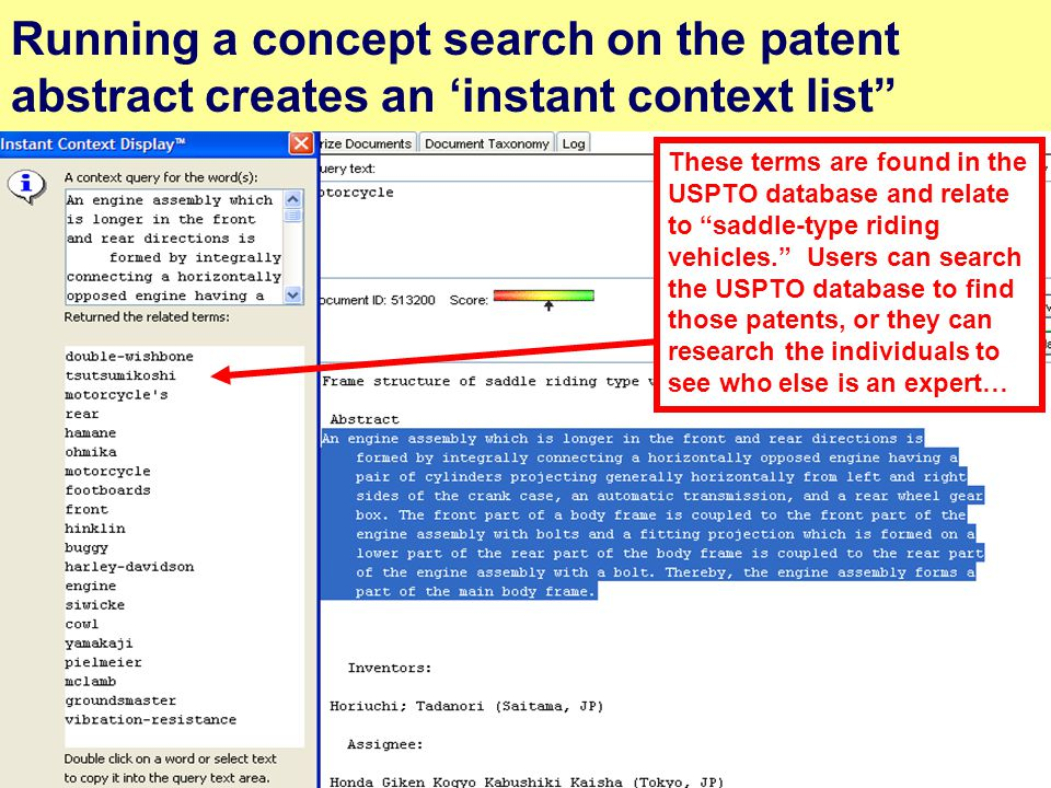 "20 Running a concept search on the patent abstract creates an 'instant context list"" These terms are found in the USPTO database and relate to ""saddle"
