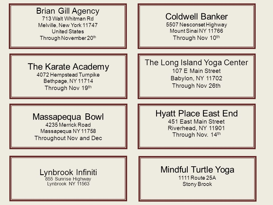 Brian Gill Agency 713 Walt Whitman Rd Melville, New York 11747 United States Through November 20 th The Karate Academy 4072 Hempstead Turnpike Bethpag