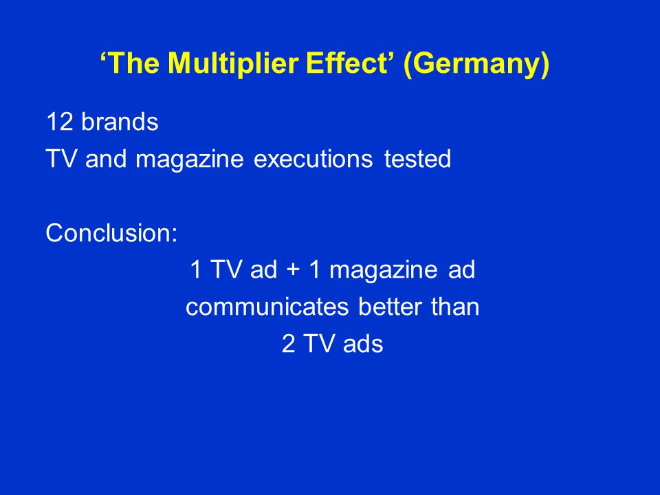 'The Multiplier Effect' (Germany) 12 brands TV and magazine executions tested Conclusion: 1 TV ad + 1 magazine ad communicates better than 2 TV ads