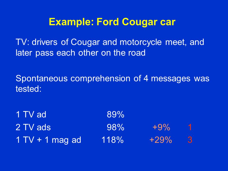 Example: Ford Cougar car TV: drivers of Cougar and motorcycle meet, and later pass each other on the road Spontaneous comprehension of 4 messages was