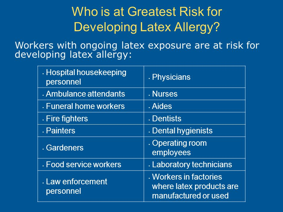 Who is at Greatest Risk for Developing Latex Allergy.