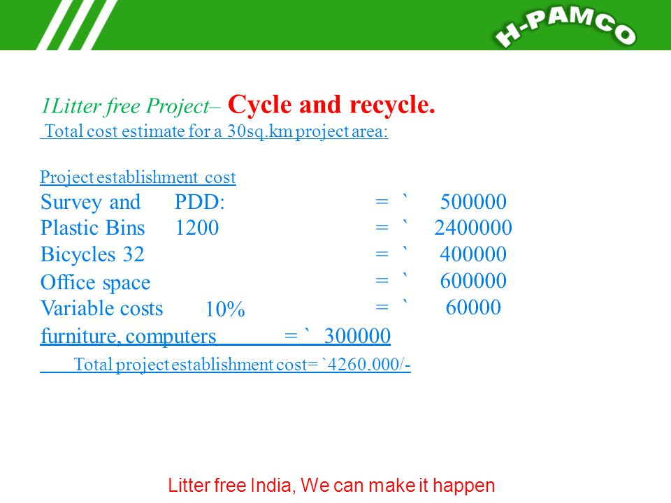 1Litter free Project– Cycle and recycle.