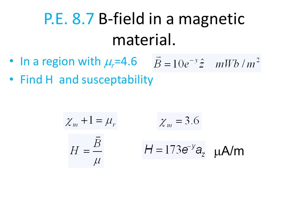 P.E. 8.7 B-field in a magnetic material. In a region with  r =4.6 Find H and susceptability  A/m