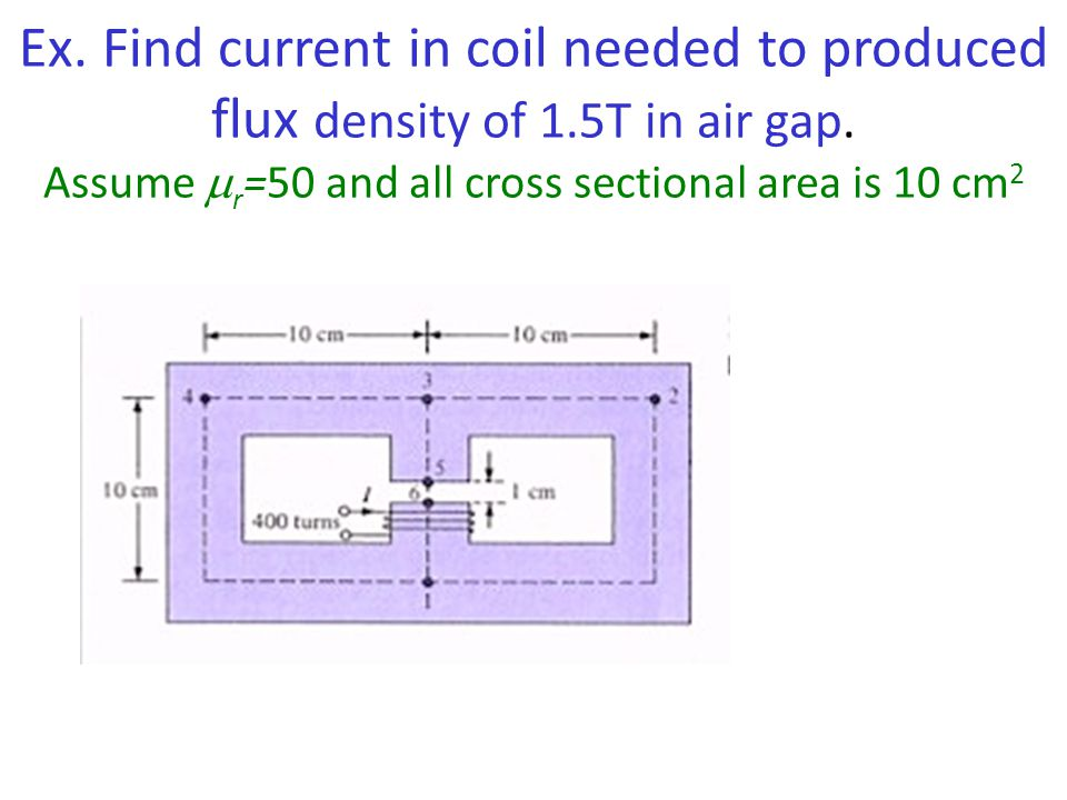 Ex. Find current in coil needed to produced flux density of 1.5T in air gap. Assume  r =50 and all cross sectional area is 10 cm 2