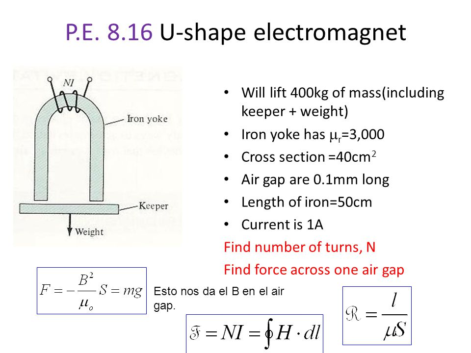 P.E. 8.16 U-shape electromagnet Will lift 400kg of mass(including keeper + weight) Iron yoke has  r =3,000 Cross section =40cm 2 Air gap are 0.1mm lo
