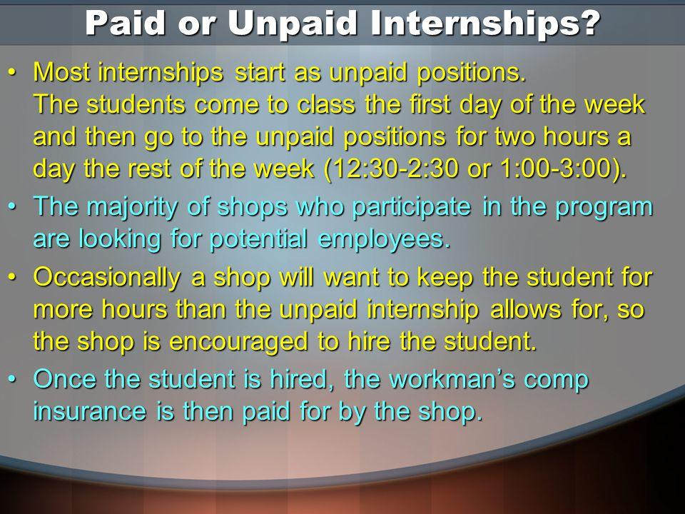 Paid or Unpaid Internships. Most internships start as unpaid positions.