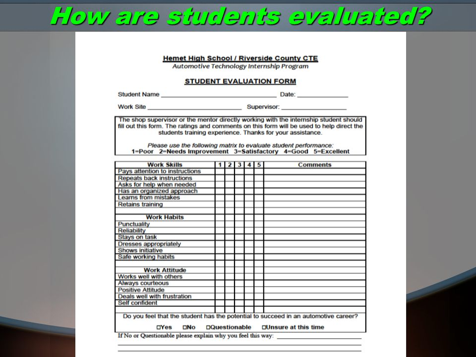 How are students evaluated