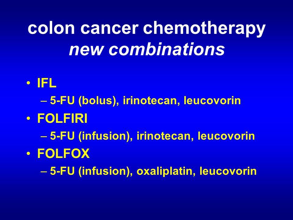 colon cancer chemotherapy new combinations IFL –5-FU (bolus), irinotecan, leucovorin FOLFIRI –5-FU (infusion), irinotecan, leucovorin FOLFOX –5-FU (infusion), oxaliplatin, leucovorin