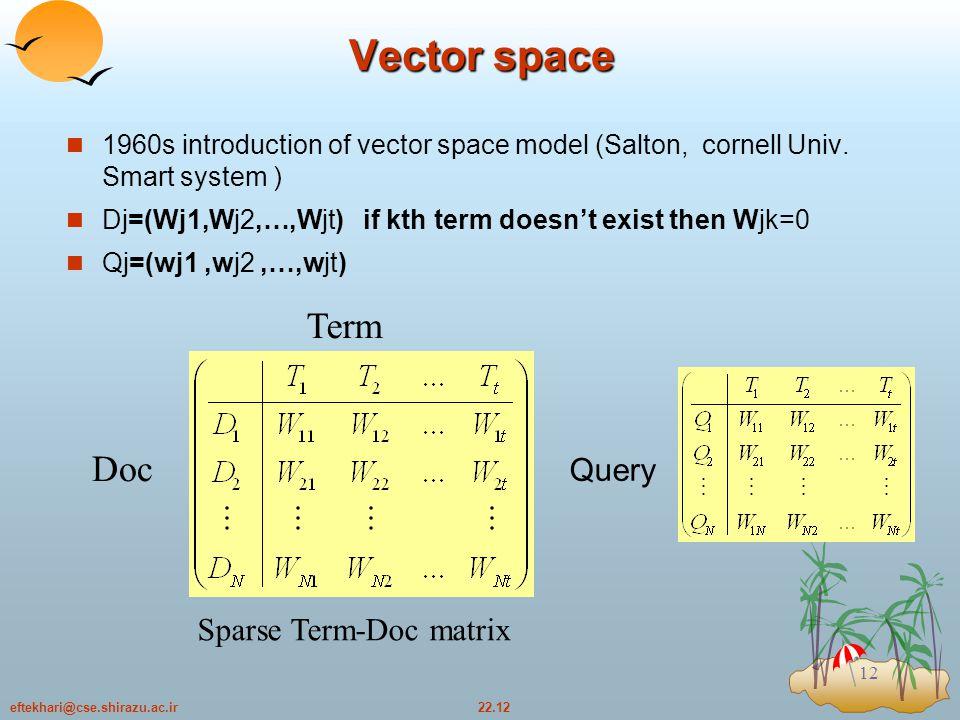 22.12eftekhari@cse.shirazu.ac.ir 12 Vector space 1960s introduction of vector space model (Salton, cornell Univ.