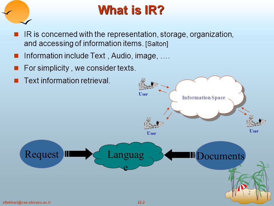 22.23eftekhari@cse.shirazu.ac.ir 23 Query Modification Process F: accepts relevance judgement from the user and produces as output sets of relevant and nonrelevant documents G: implements the feedback formula (for rewriting the original query) Retrieval Process FG Original query Q Ranked output Rel.