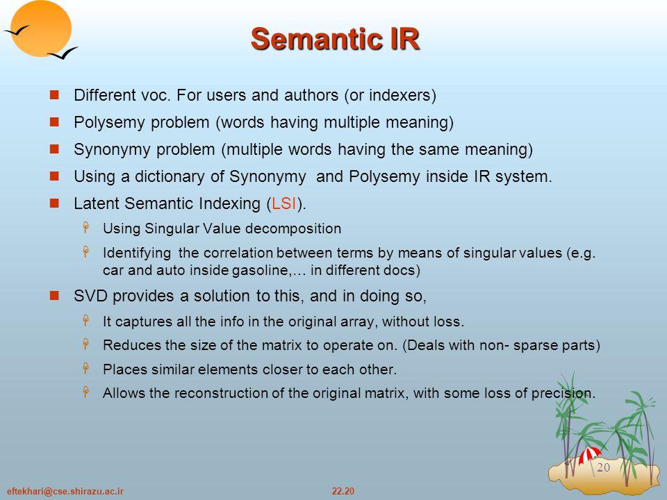 22.20eftekhari@cse.shirazu.ac.ir 20 Semantic IR Different voc.
