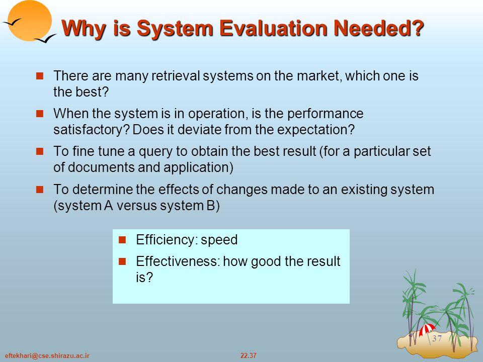 22.37eftekhari@cse.shirazu.ac.ir 37 Why is System Evaluation Needed.