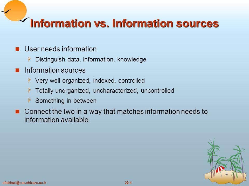 22.4eftekhari@cse.shirazu.ac.ir 4 Information vs.