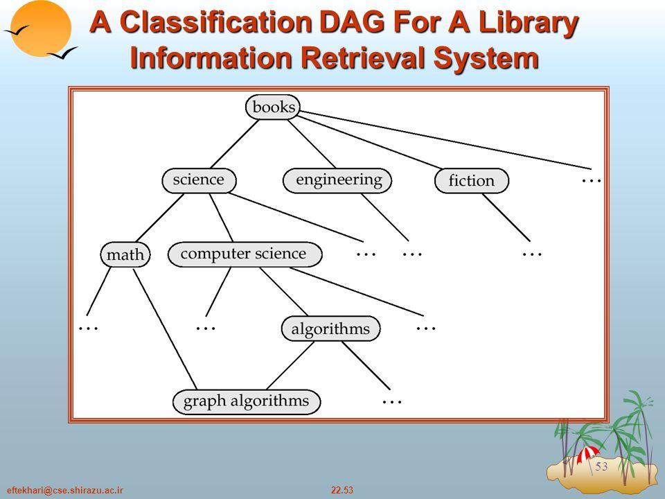 22.53eftekhari@cse.shirazu.ac.ir 53 A Classification DAG For A Library Information Retrieval System
