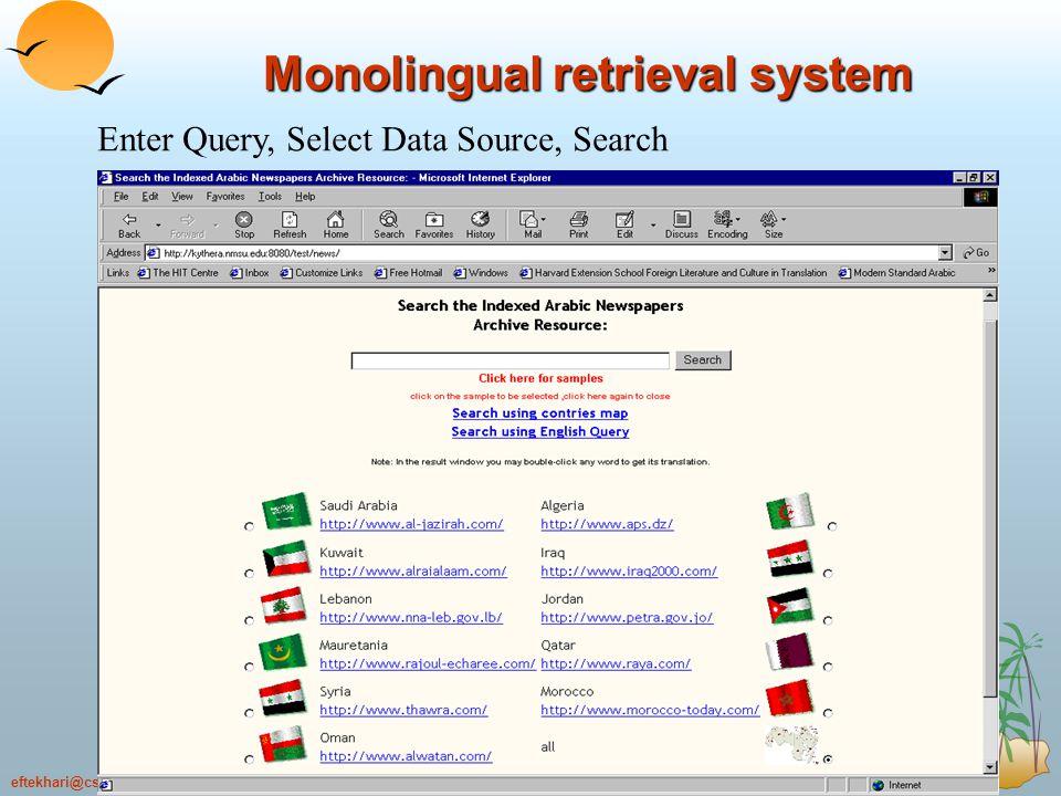 22.69eftekhari@cse.shirazu.ac.ir 69 Monolingual retrieval system Enter Query, Select Data Source, Search